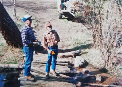 Trail work - Sugar Creek bridge on Noddles. circa 1980.  PC: Jim Peasley